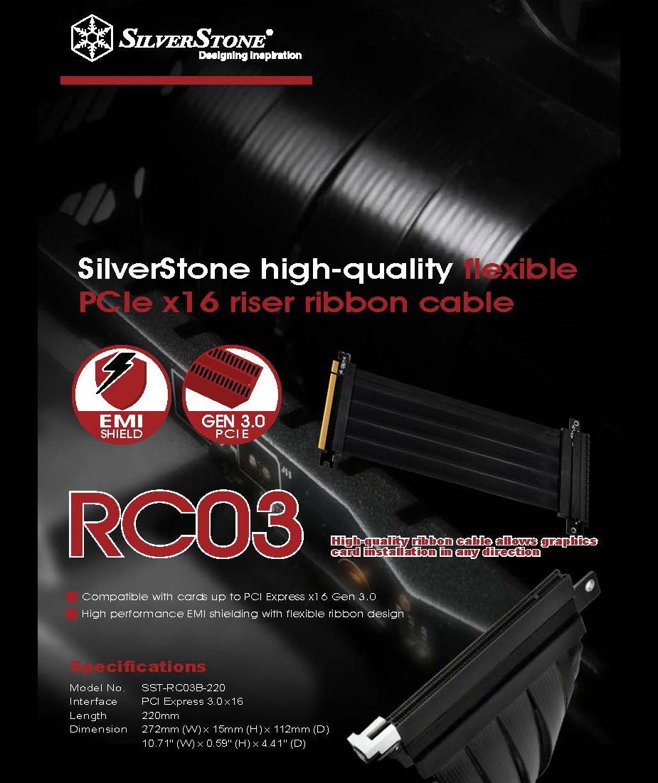 SilverStone RC03B-220 Flex PCIe 220mm Riser Cable - Desktop Overview 1