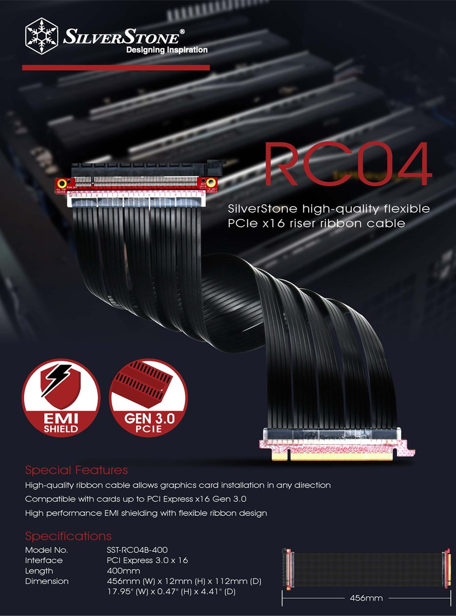 SilverStone RC04B-400 Flex PCI-E x16 40cm Riser Cable - Desktop Overview 1