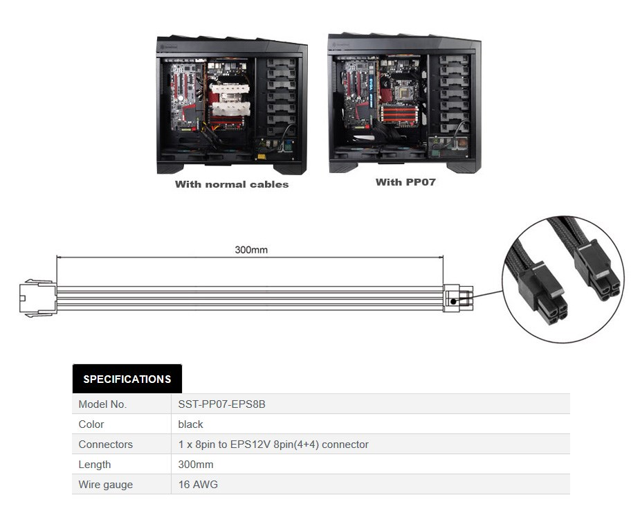 SilverStone PP07-EPS8B 30cm EPS-8pin to EPS/ATX-4+4pin Cable - Black - Overview 1
