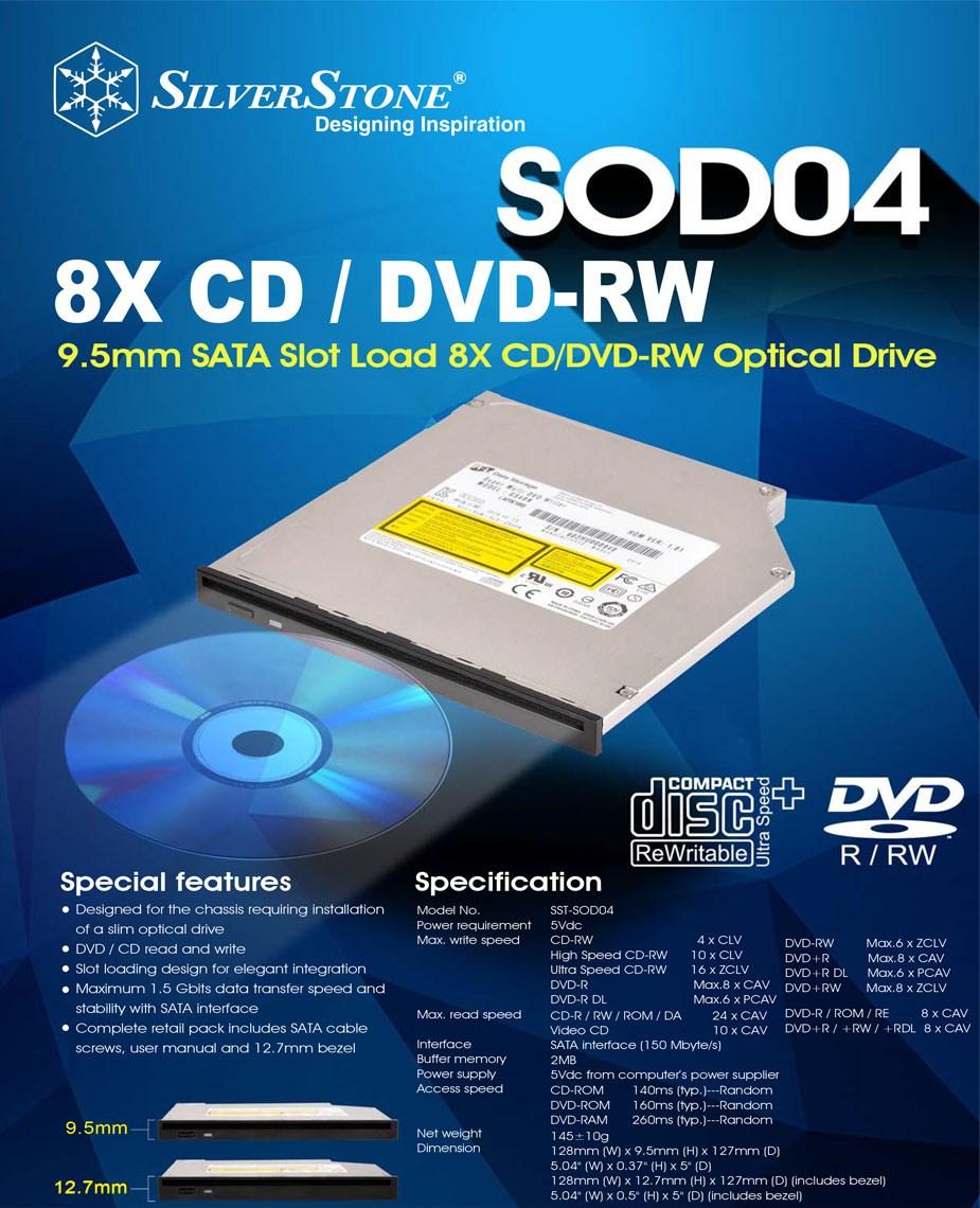 SilverStone SOD04 Slim DVD Writer - Overview 1