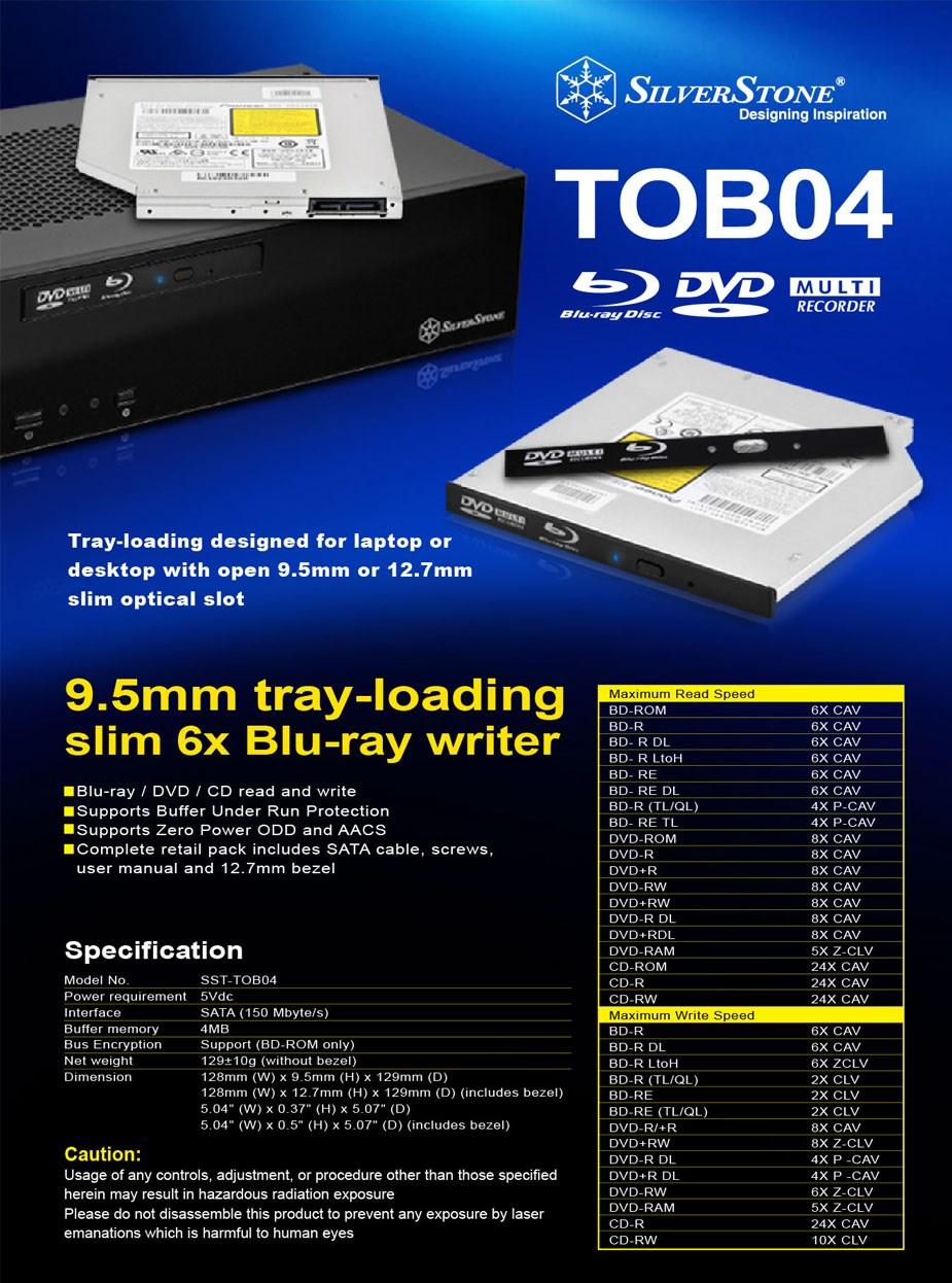 SilverStone TOB04 Internal Slimline Blu-Ray / DVD Drive - Overview 1