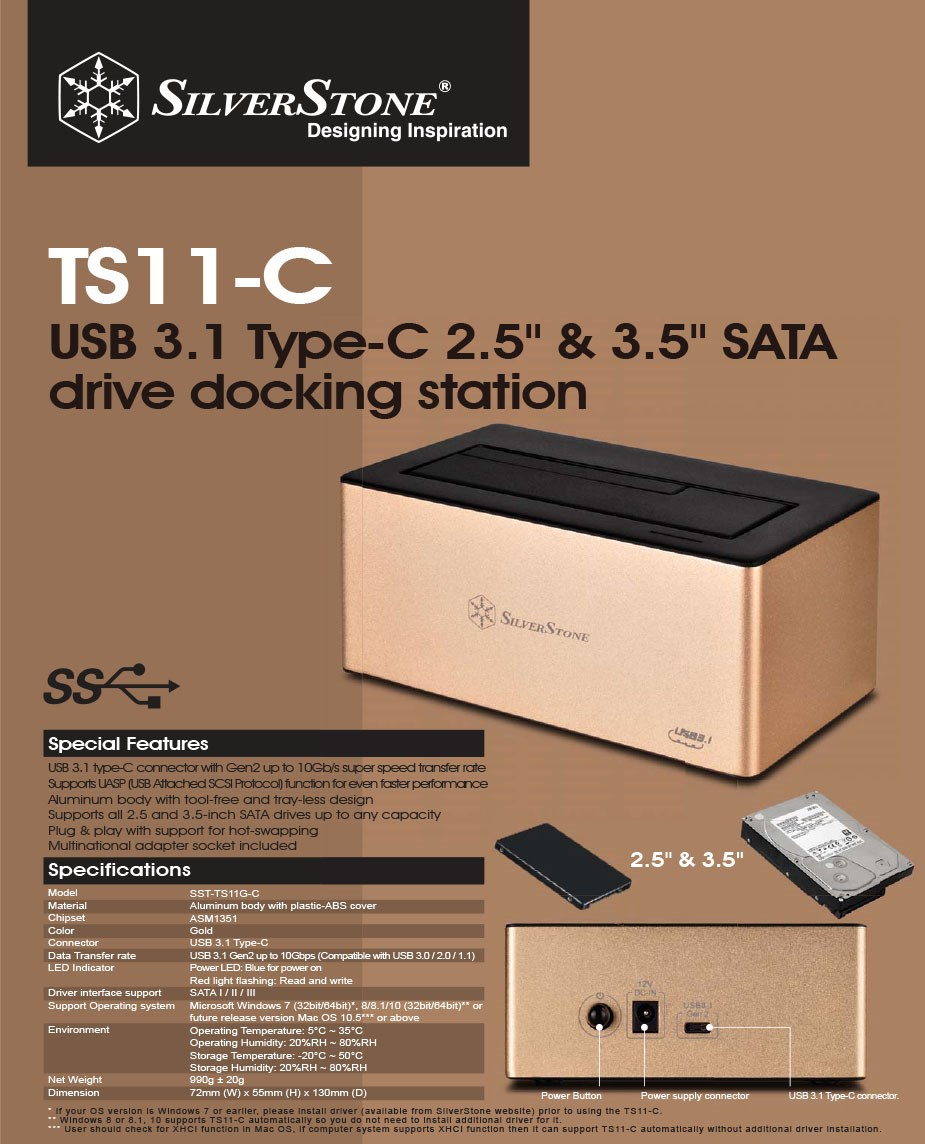 "SilverStone TS11G-C 2.5""/3.5"" SATA HDD Type-C Docking Station - Overview 1"