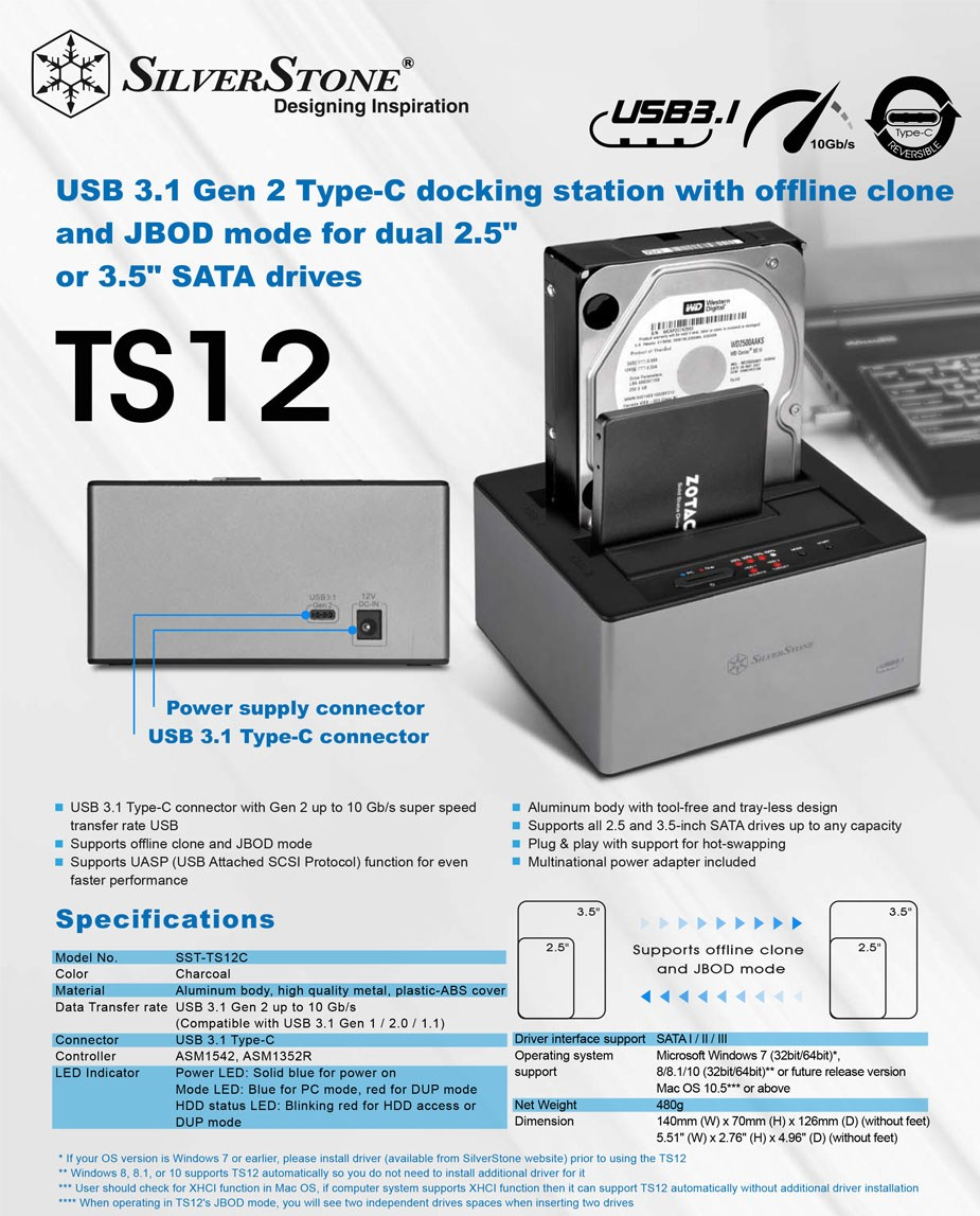 "SilverStone TS12C 2.5""/3.5"" SATA Dual HDD Type-C Docking Station - Overview 1"