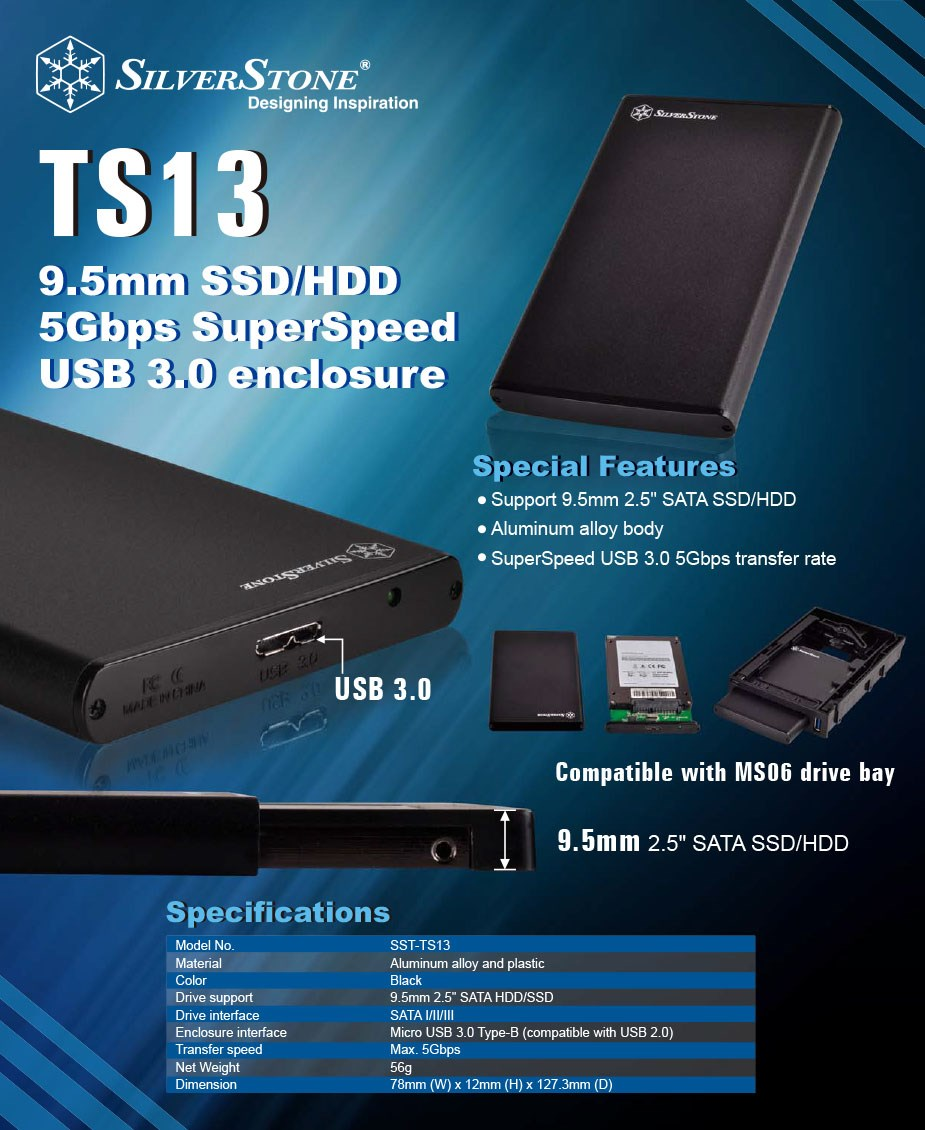 "SilverStone TS13B 2.5"" SATA SSD/HDD Enclosure - Overview 1"