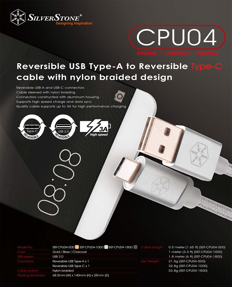 SilverStone CPU04C 1m Reversible USB-A to USB-C Cable - Silver - Desktop Overview 1