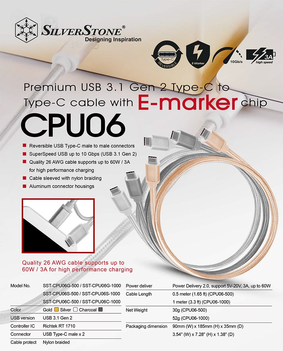 SilverStone CPU06 50cm M/M USB Type-C to USB Type-C Cable Charcoal - Desktop Overview 1
