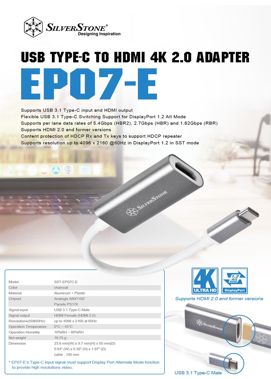 SilverStone EP07C-E USB 3.0 Type-C to HDMI 2.0b Adapter - Desktop Overview 1