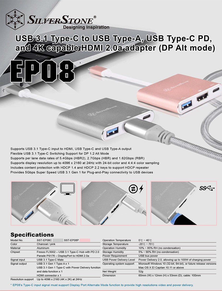 SilverStone EP08C USB 3.1 Type C Hub with HDMI, USB-A & USB-C - Charcoal - Desktop Overview 1