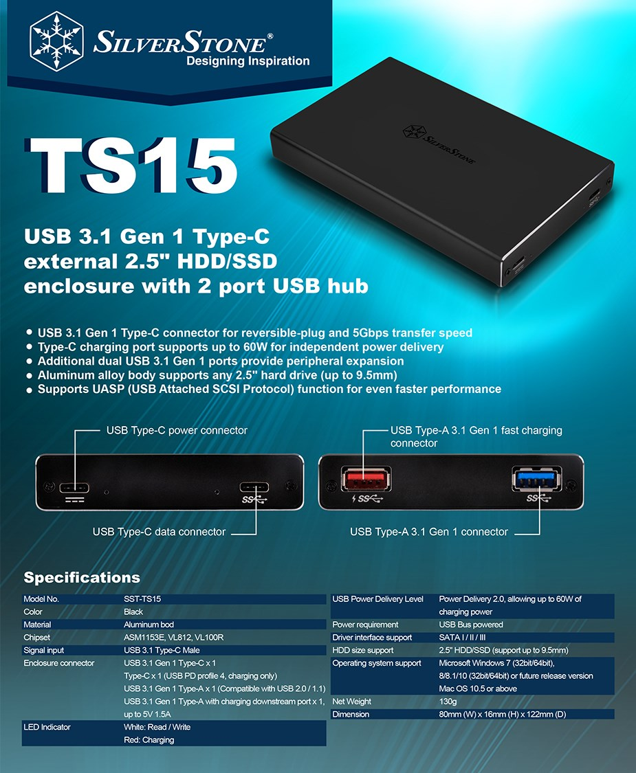 """SilverStone TS15B 2.5"""" USB 3.0 Type-C HDD/SSD Enclosure - Desktop Overview 1"""