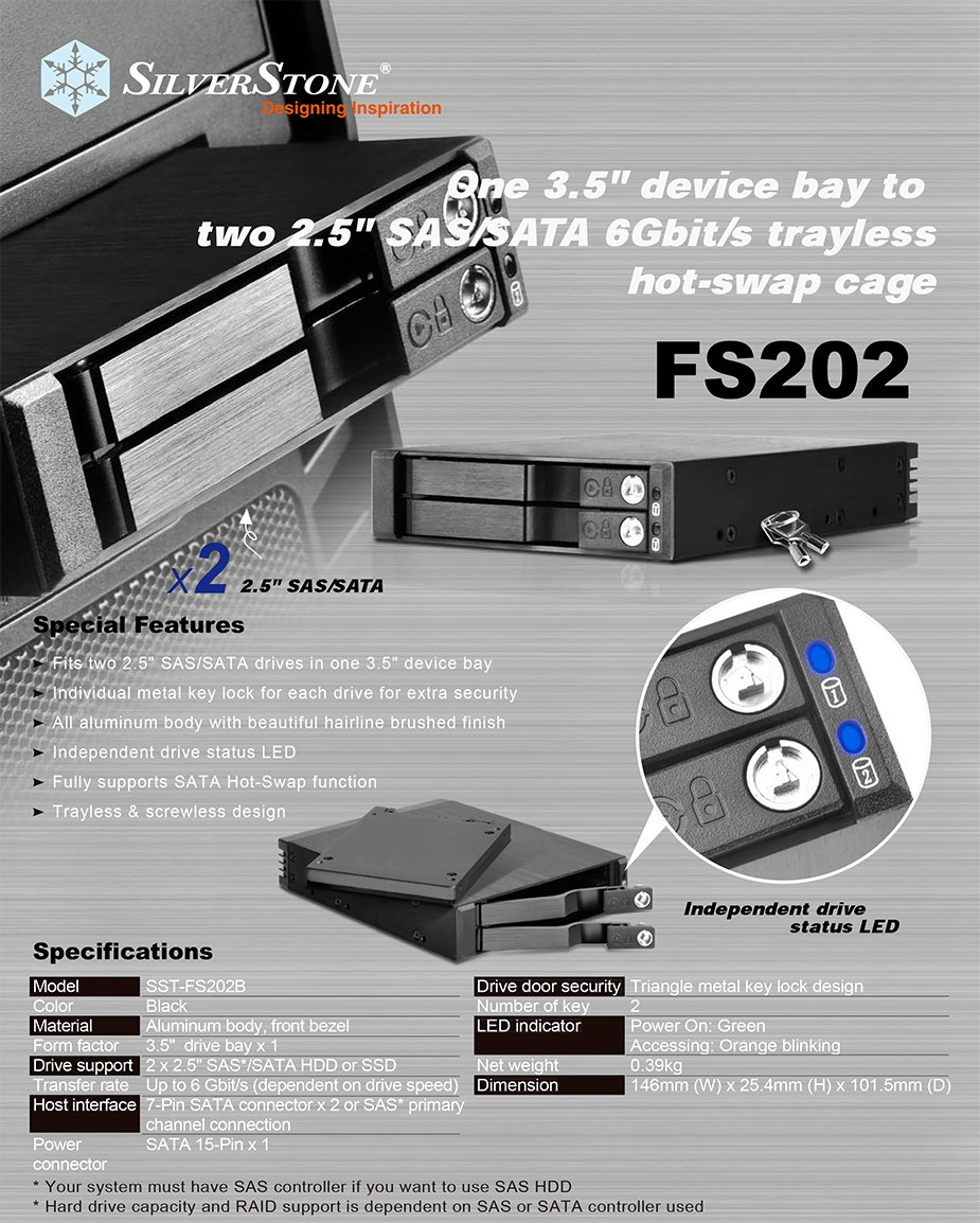 "SilverStone FS202B 2 Bay 2.5"" SAS/SATA Internal Hot-Swap Cage - Desktop Overview 1"