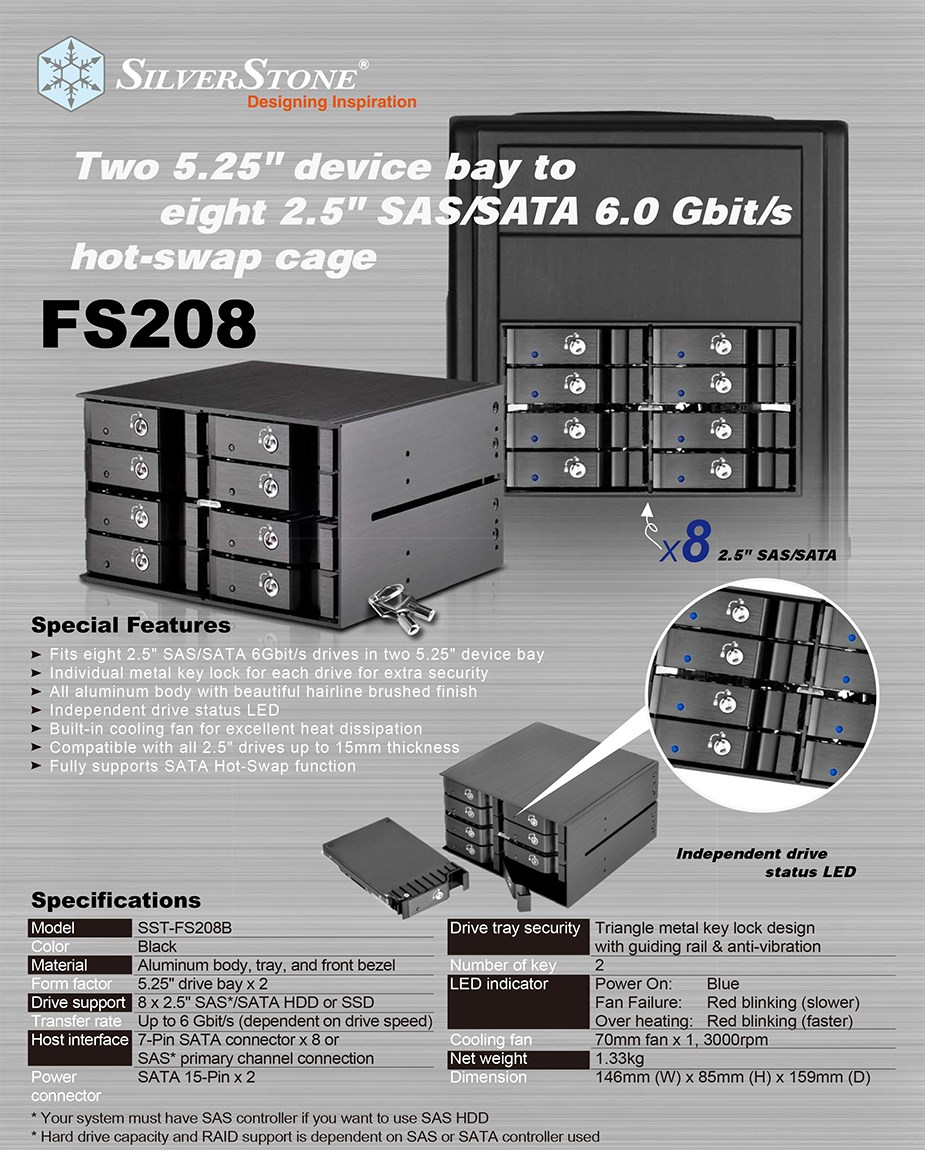 "SilverStone FS208B 8-Bay Dual 5.25"" Cage for 2.5"" SAS/SATA HDDs - Desktop Overview 1"