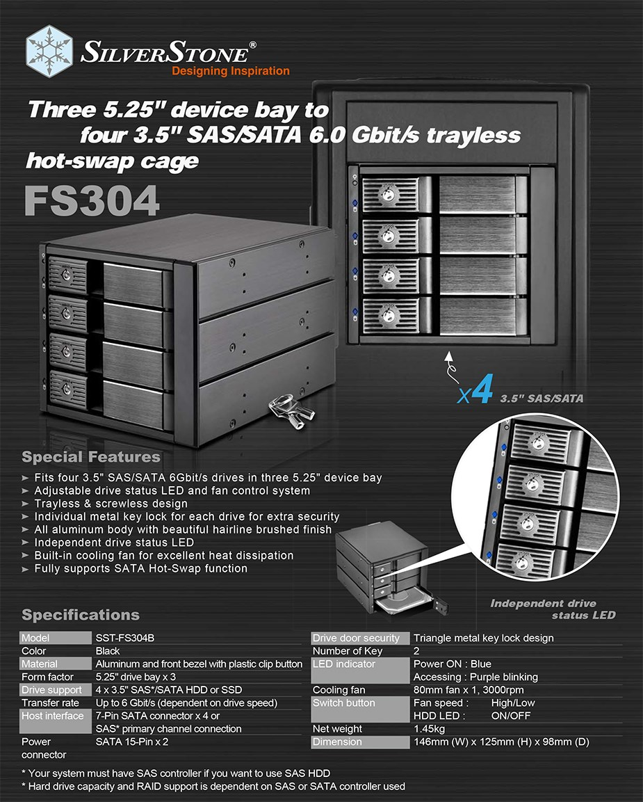"SilverStone FS304B 4-Bay Triple 5.25"" Cage for 3.5"" SAS/SATA HDDs - Desktop Overview 1"
