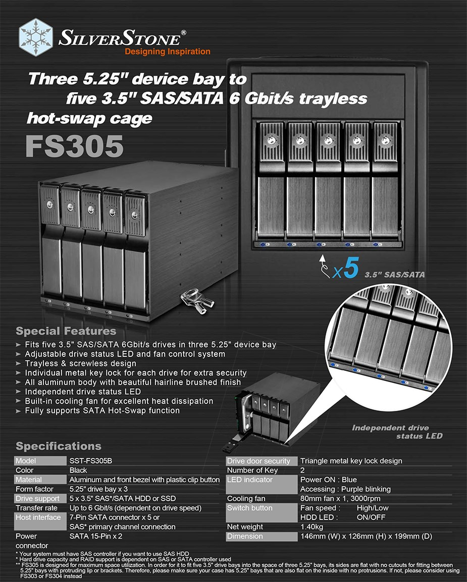 """SilverStone FS305B 5-Bay Triple 3.5"""" Cage for 3.5"""" SAS/SATA HDDs - Desktop Overview 1"""