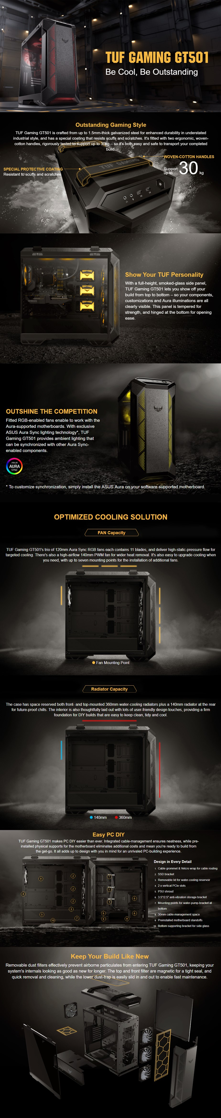 ASUS TUF Gaming GT501 RGB Tempered Glass Mid-Tower E-ATX Case - Desktop Overview 1
