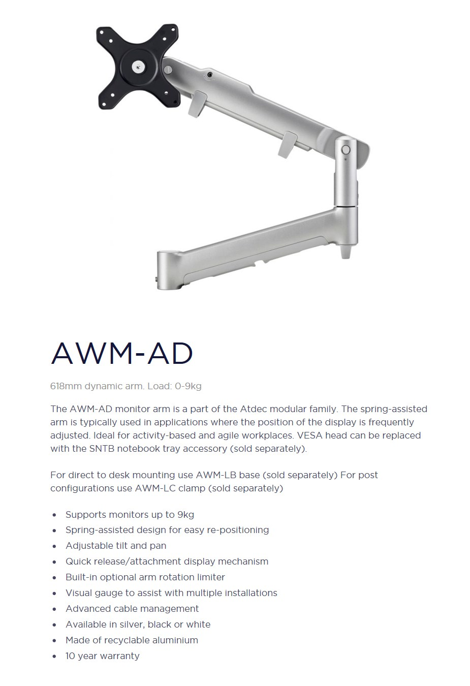 Atdec AWM-AD 618mm Dynamic Monitor Arm - Silver - Desktop Overview 1