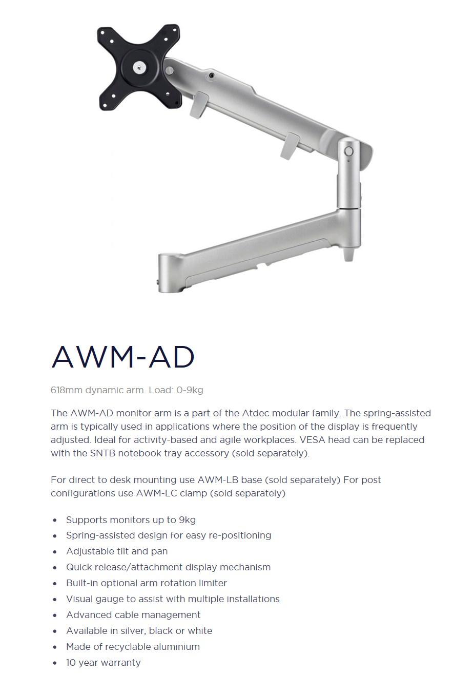 Atdec AWM-AD 618mm Dynamic Monitor Arm - Silver - Desktop Overview 1