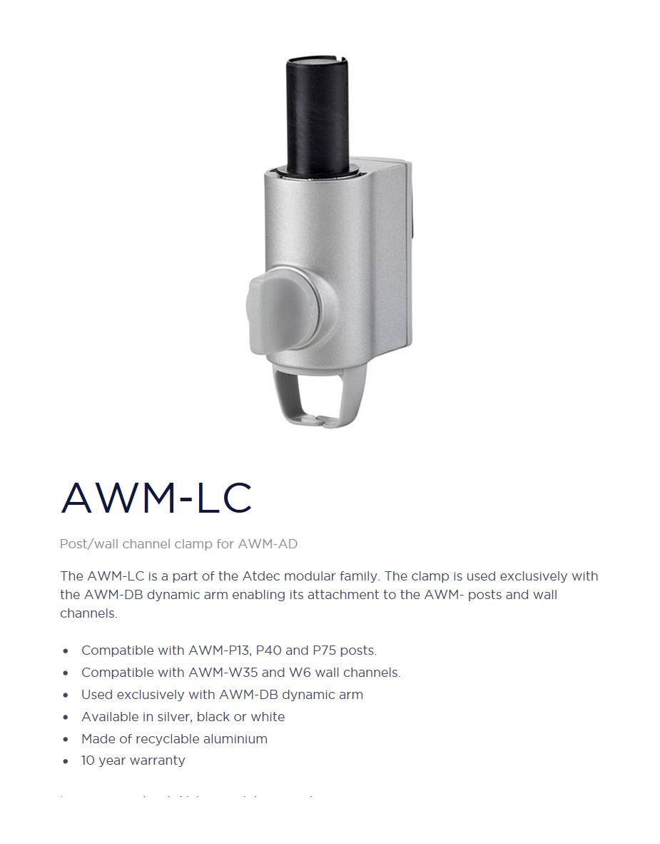 Atdec AWM-LC Post/Wall Channel Clamp for AWM-AD - Silver - Desktop Overview 1
