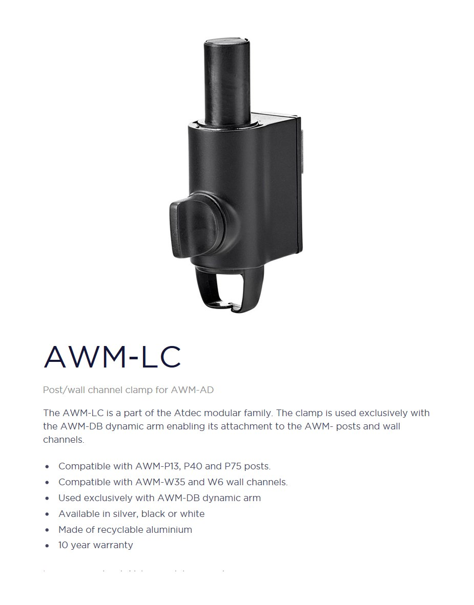 Atdec AWM-LC Post/Wall Channel Clamp for AWM-AD - Black - Desktop Overview 1