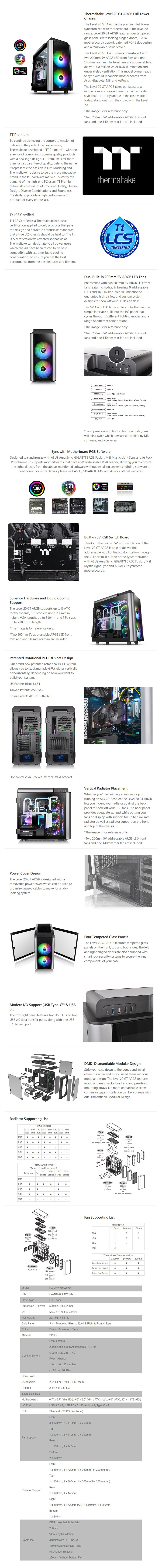 Thermaltake Level 20 GT ARGB Tempered Glass Full Tower E-ATX Case - Desktop Overview 1
