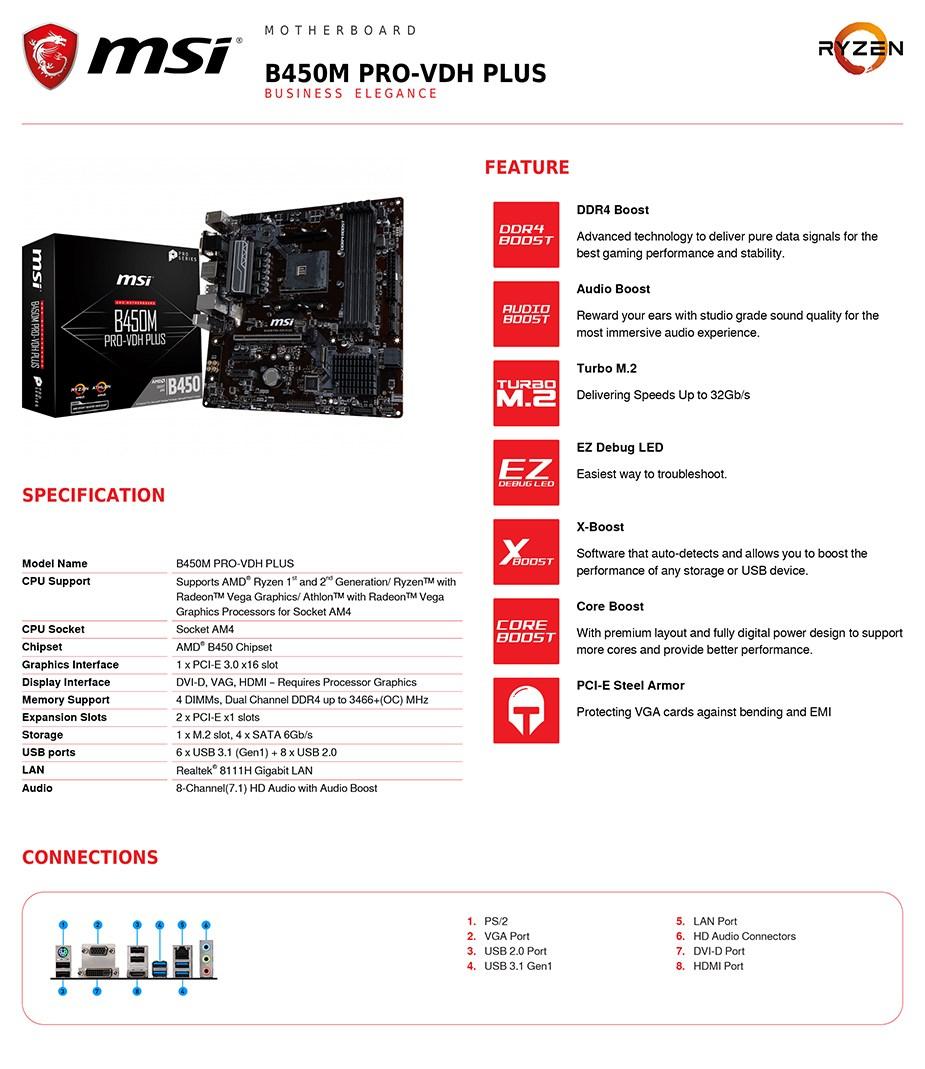 MSI B450M PRO-VDH PLUS AM4 M-ATX Motherboard - Desktop Overview 2