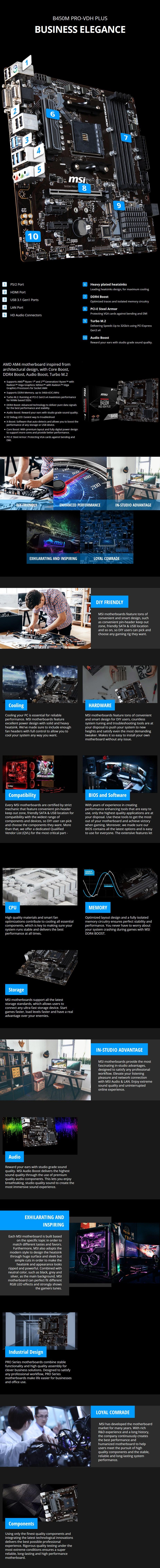MSI B450M PRO-VDH PLUS AM4 M-ATX Motherboard - Desktop Overview 1