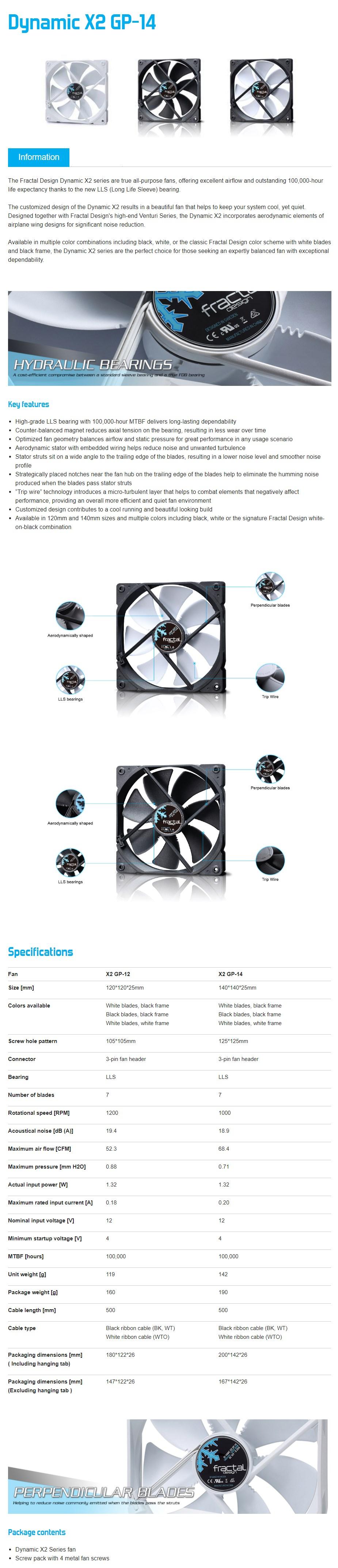 Fractal Design Dynamic Series X2 GP-14 140mm Case Fan - White - Desktop Overview 1