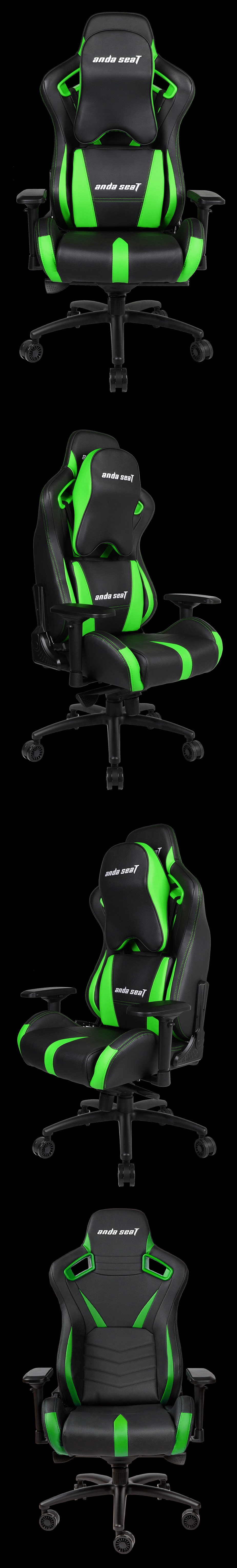 Anda Seat AD12-XL-03 v2 Gaming Chair - Black/Green - Desktop Overview 2
