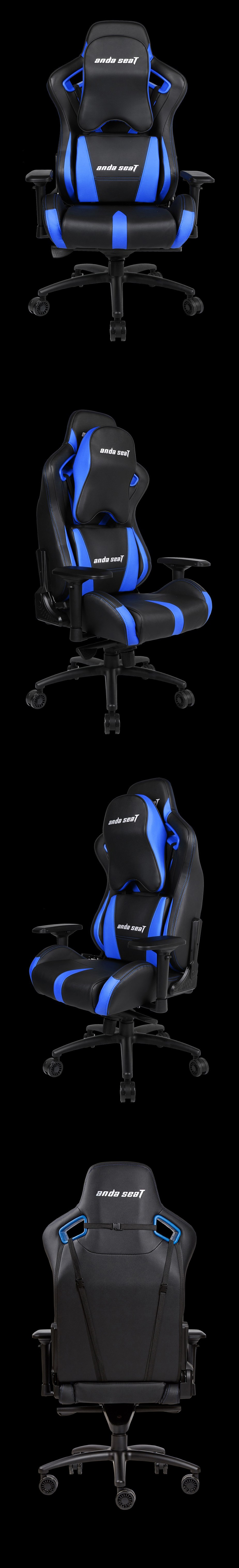 Anda Seat AD12-XL-03 v2 Gaming Chair - Black/Bliue - Desktop Overview 2