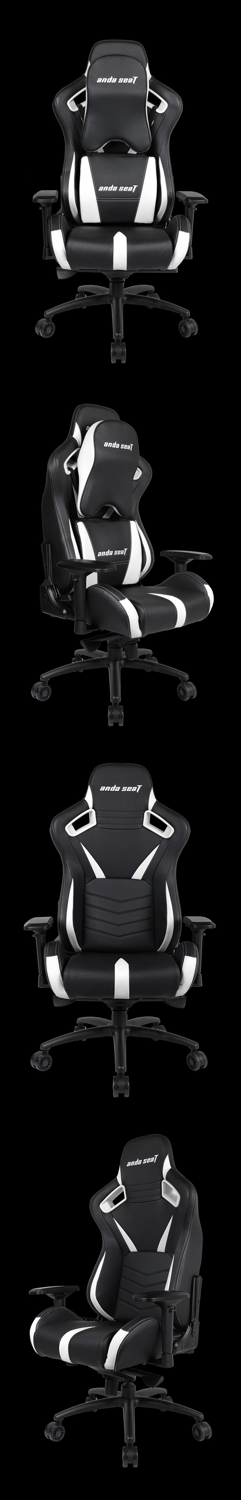 Anda Seat AD12-XL-03 v2 Gaming Chair - Black/White - Desktop Overview 2