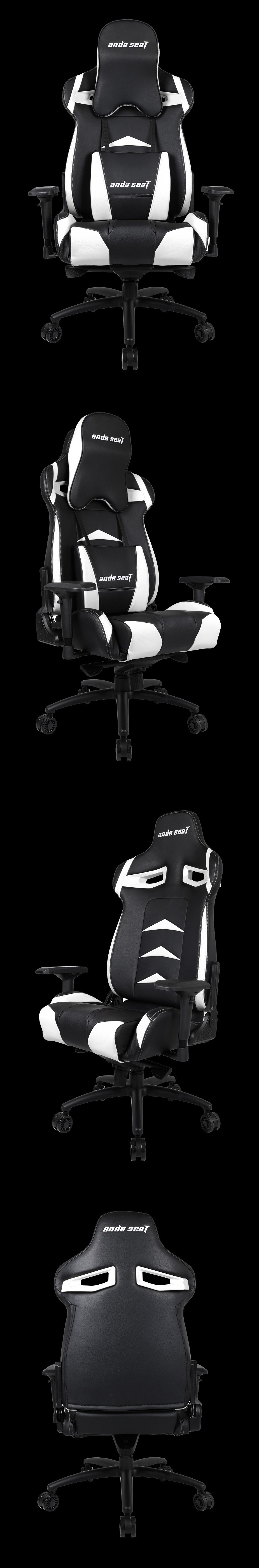 Anda Seal AD3XL-01 Gaming Chair - Black/White - Desktop Overview 2