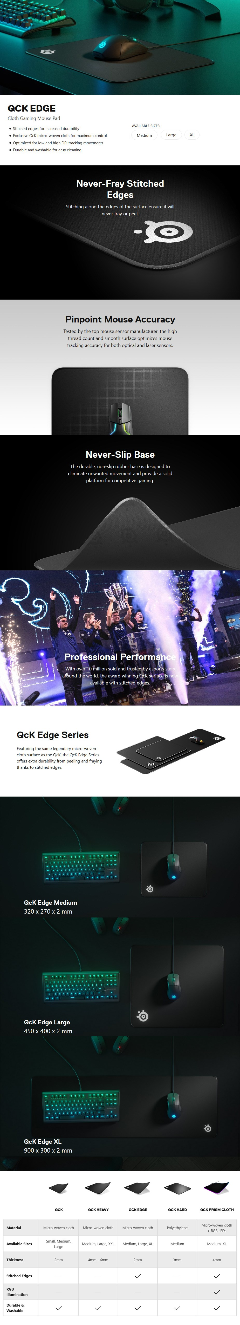 SteelSeries QcK Edge Gaming Mouse Pad - Extra Large - Desktop Overview 1