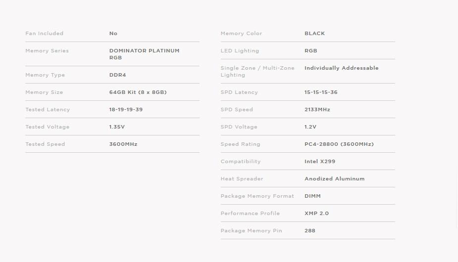 Corsair Dominator Platinum RGB 64GB (8x 8GB) DDR4 3600MHz Memory