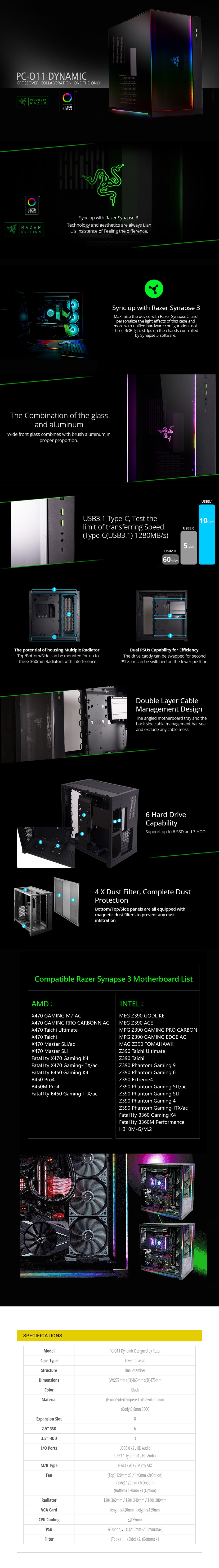 Lian-Li PC-011 Dynamic RGB Tempered Glass Mid Tower Case - Razer Edition
