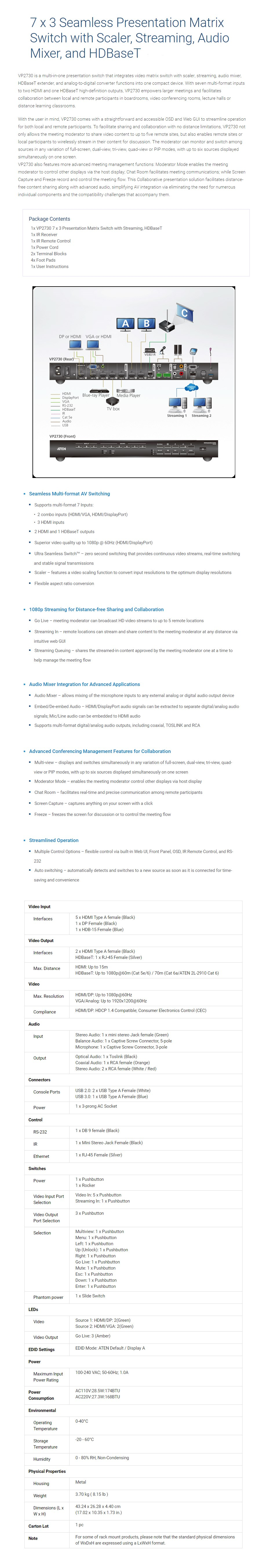 ATEN VP2730 1080p 7x3 Presentation Matrix Switch with Scalar - Desktop Overview 1