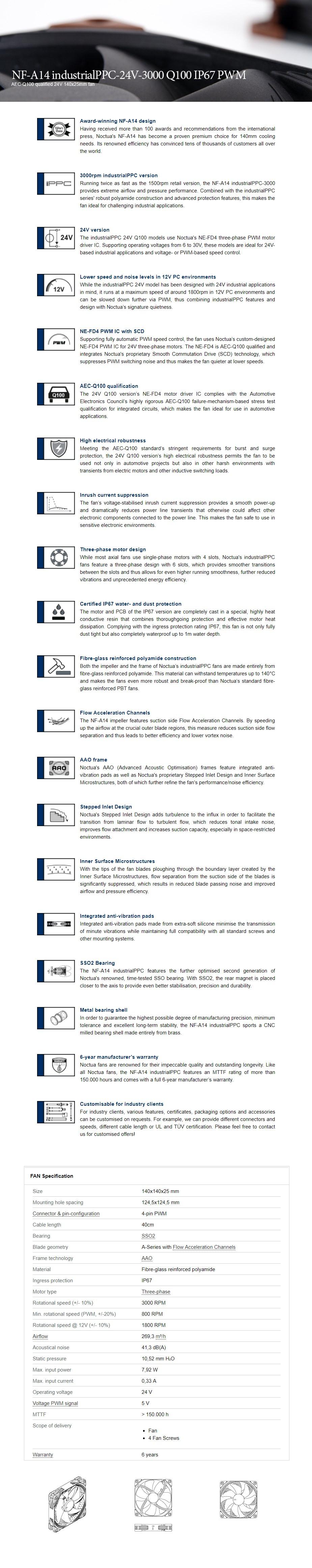 Noctua 140mm NF-A14 Industrial PPC Q100 IP67 3000RPM PWM Fan - Desktop Overview 1