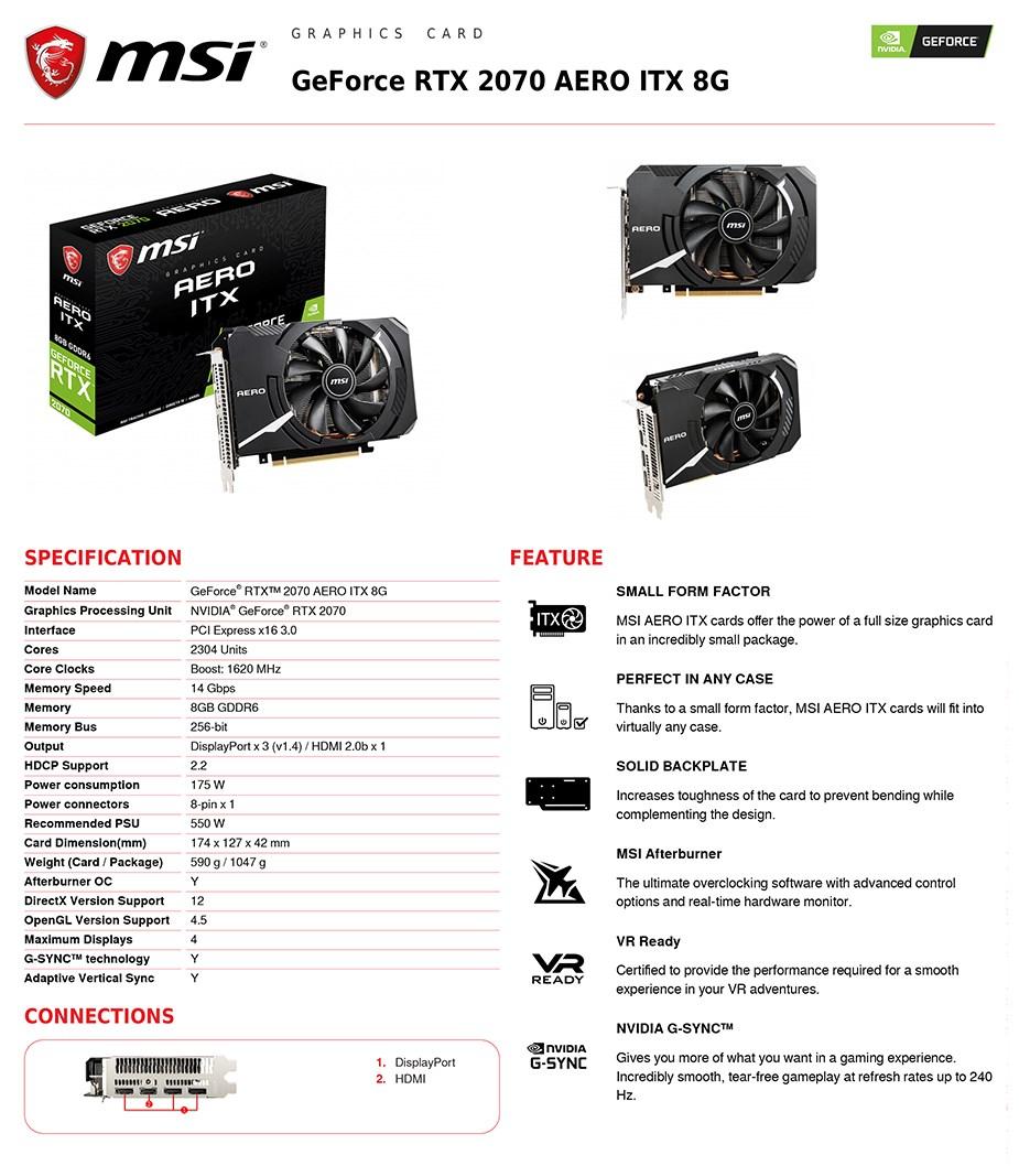 MSI GeForce RTX 2070 AERO ITX 8GB Video Card - Desktop Overview 3