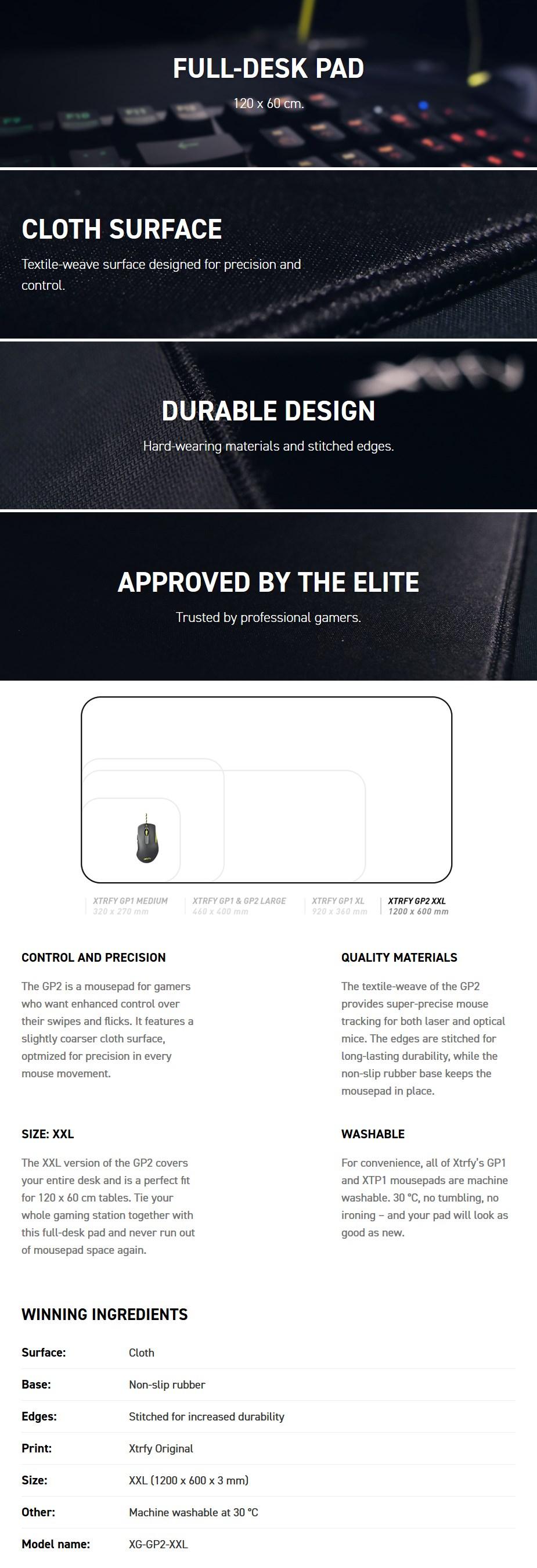 Xtrfy GP2 Full Desk Gaming Mousepad - XXL - Desktop Overview 1