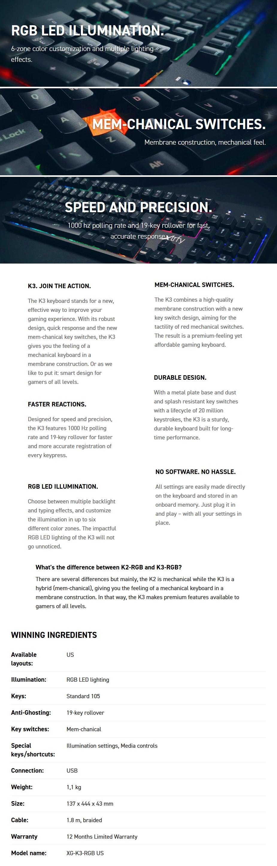 Xtrfy K3 RGB LED Mem-chanical Gaming Keyboard - Desktop Overview 1