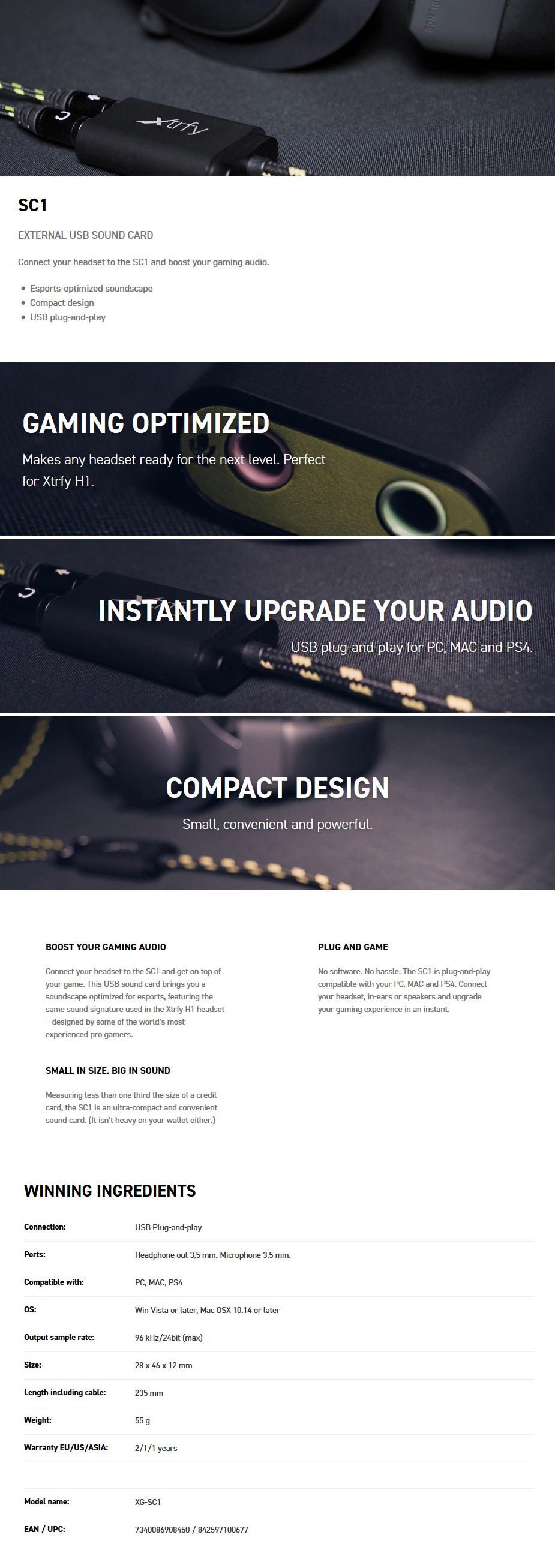 Xtrfy SC1 External USB Headset Sound Card - Desktop Overview 1