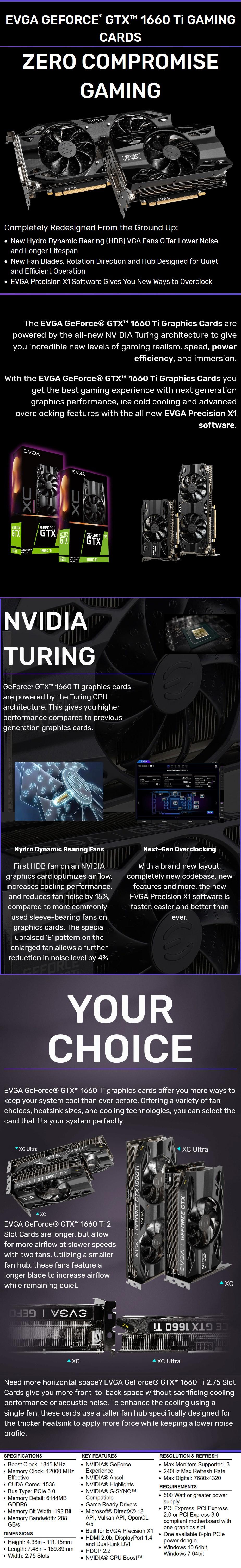 EVGA GeForce GTX 1660 Ti XC GAMING 6GB Video Card - Desktop Overview 1