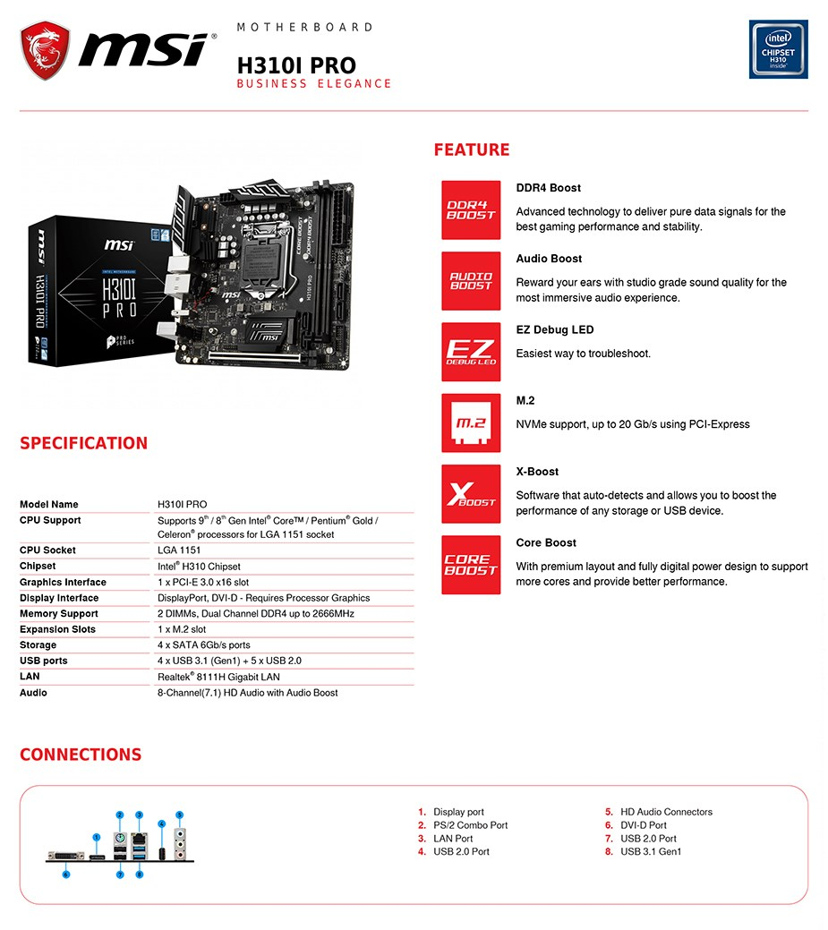 MSI H310I PRO LGA 1151 Mini-ITX Motherboard - Desktop Overview 2