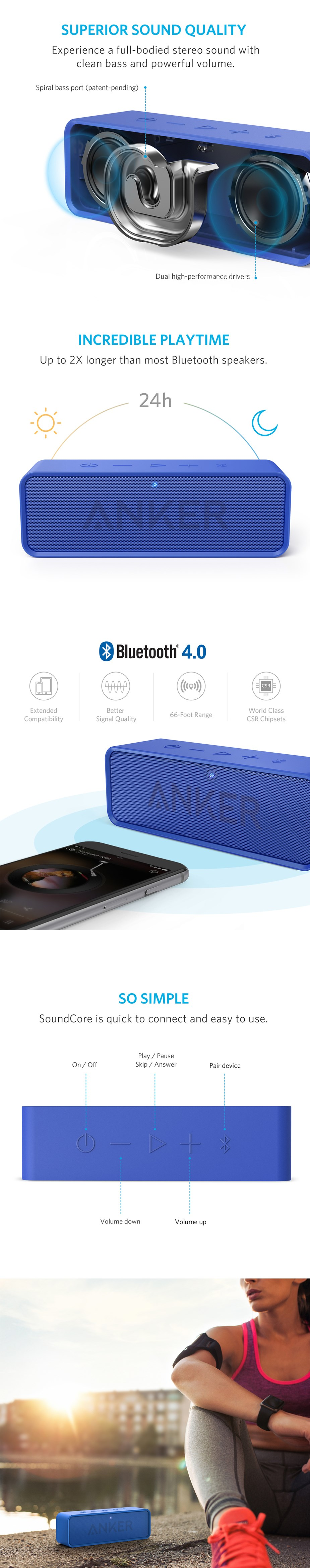 Anker SoundCore Bluetooth Stereo Speakers - Blue - Desktop Overview 1