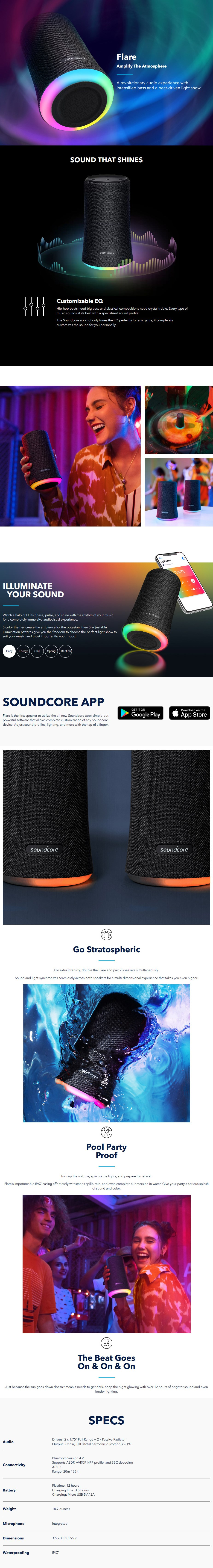 Anker SoundCore Flare Portable Bluetooth 360-Degree Speakers - Black - Desktop Overview 1