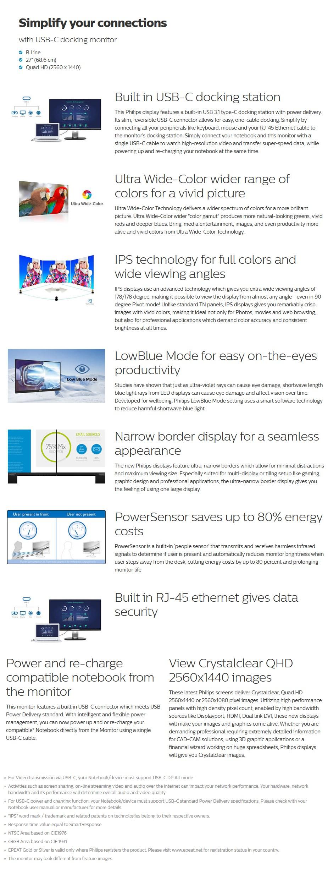 "Philips B-Line 272B7QUPBEB 27"" QHD USB-C IPS LCD Monitor - Desktop Overview 1"