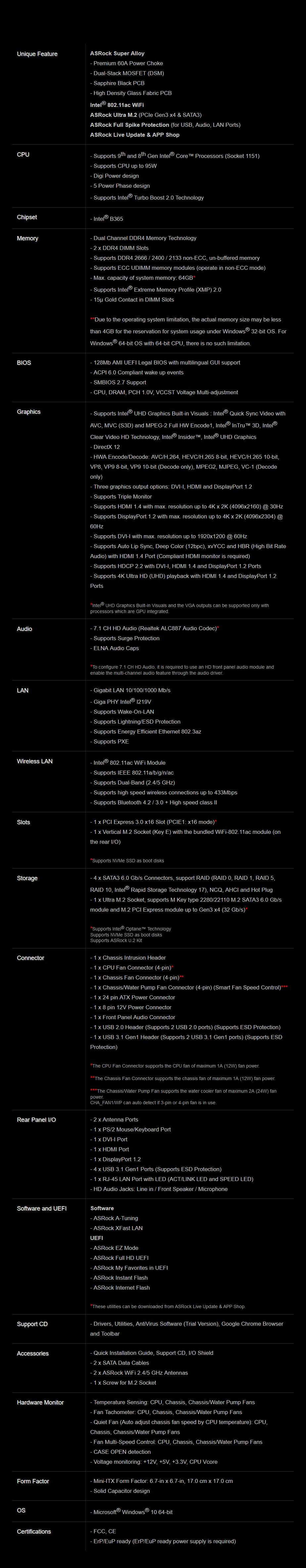 ASRock B365M-ITX/ac LGA 1151 Mini-ITX Motherboard - Desktop Overview 2