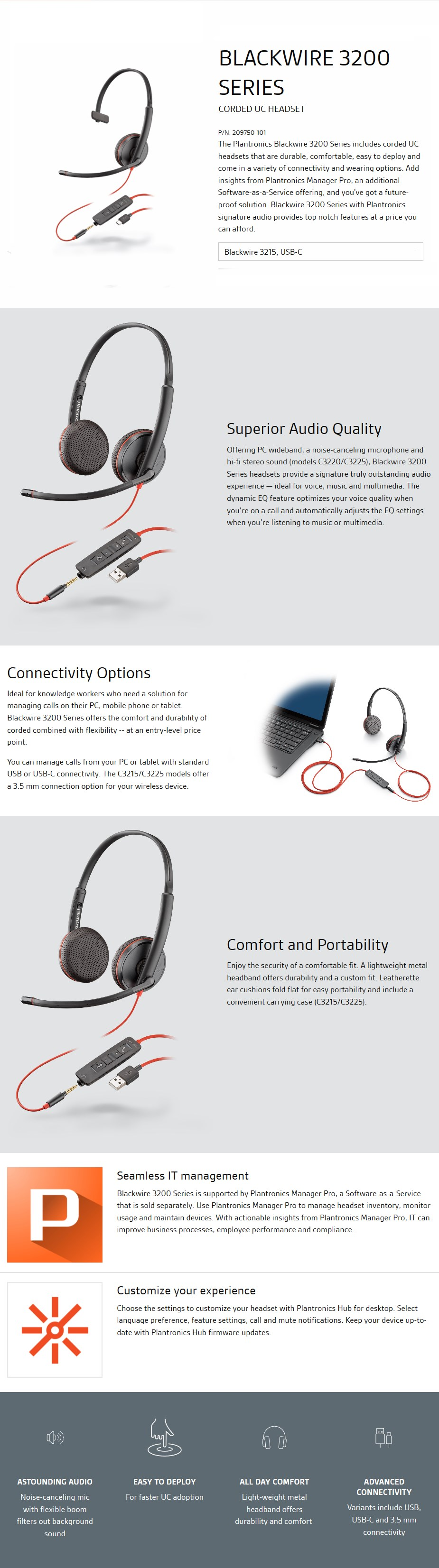 Plantronics Blackwire C3215 Monaural UC USB-C Headset w/ 3.5mm - Desktop Overview 1