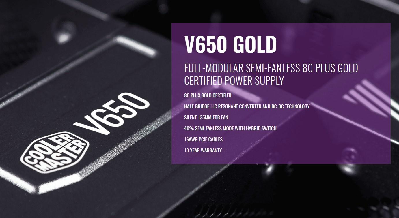 Cooler Master V650 Gold 650W 80+ Fully Modular Power Supply - Desktop Overview 1