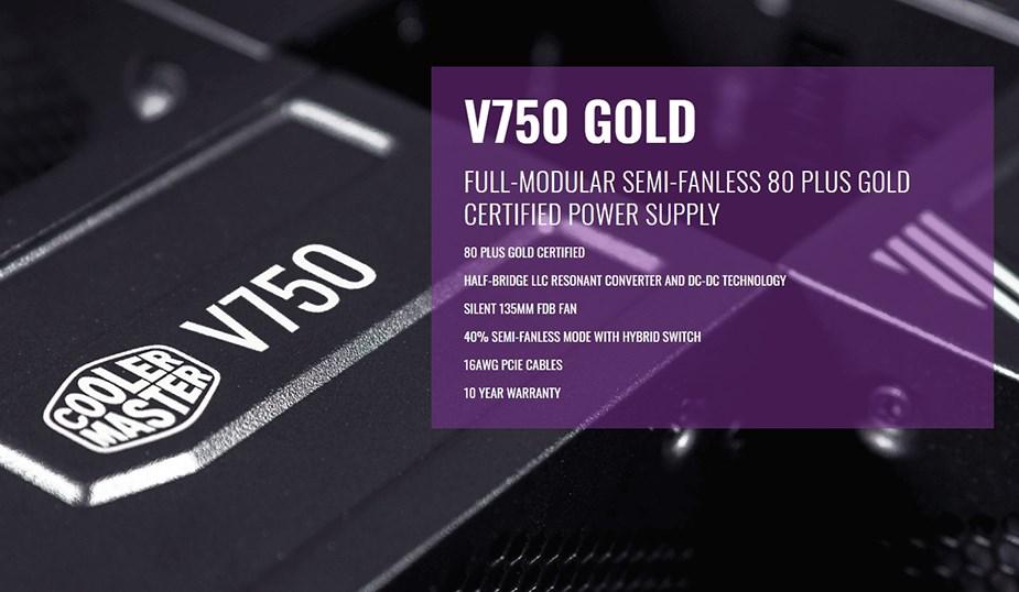 Cooler Master V750 Gold 750W 80+ Fully Modular Power Supply - Desktop Overview 1