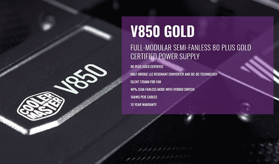 Cooler Master V650 Gold 850W 80+ Fully Modular Power Supply - Desktop Overview 1