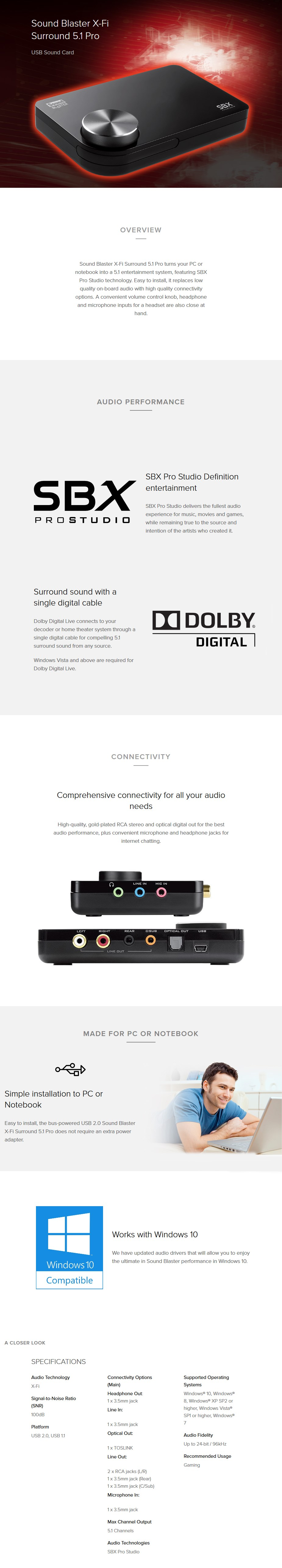 Creative Sound Blaster X-Fi Surround 5.1 Pro v3 USB Sound Card - Desktop Overview 1